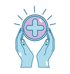 Hands with cross medicine symbol to help the vector