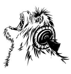 Monkey hears the music vector image