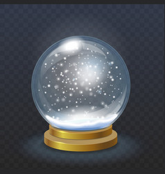 Realistic christmas snow globe isolated vector image vector image