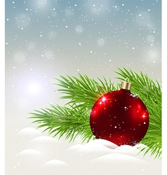 Shining red decoration in snow vector image vector image