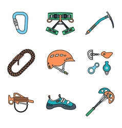 colored outline various alpinism tools icons vector image vector image