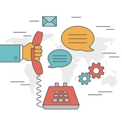 Contact us concept outline icons vector image vector image