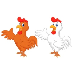 Cute rooster cartoon presenting vector image vector image