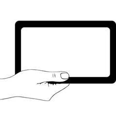 Hand holding digital tablet pc vector image vector image