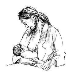 Hand sketch mother nursing baby vector image
