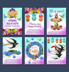 happy easter greeting card and poster set vector image vector image