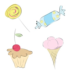images in a variety of sweets set candy mini-cake vector image vector image