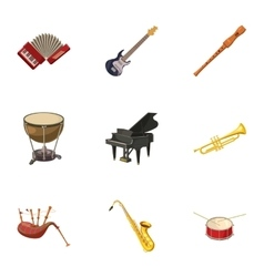 Musical device icons set cartoon style vector image vector image