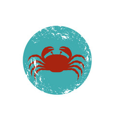 Old blue circular ornament with crab inside vector