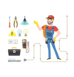 professional electrician infographics electricity vector image