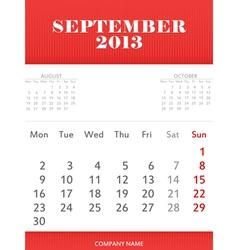 September 2013 calendar design vector image vector image