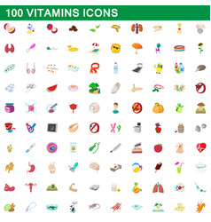 100 vitamins icons set cartoon style vector