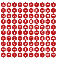 100 winter holidays icons hexagon red vector