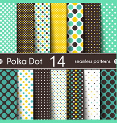 14 different round shape seamless patterns polka vector