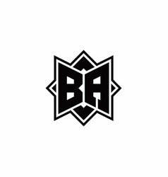 Ba monogram logo with square rotate style outline vector