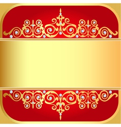 Background with gold ornaments and precious stones vector
