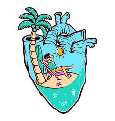Beach in my heart vector