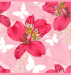 Beautiful seamless background with pink and red vector