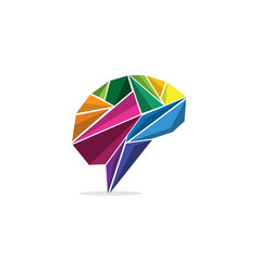Brain origami colorful science creative modern log vector