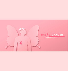 breast cancer month pink papercut butterfly woman vector image