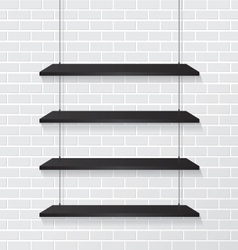 Brick wall and black shelves vector