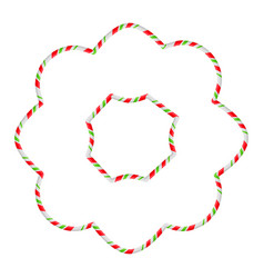 Candy cane frame border flower shape christmas vector