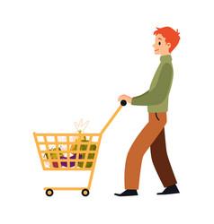 Cartoon man walking with full shopping cart full vector