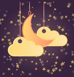 cartoon style background with stars moon and vector image