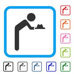 Child servant framed icon vector