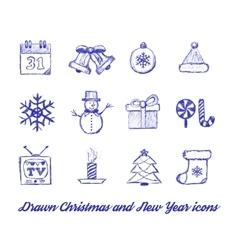 Christmas Drawn set vector