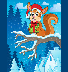 christmas theme squirrel image 2 vector image