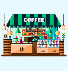 coffee house shop interior with barista standing vector image