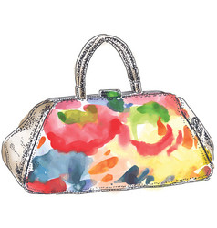 Colored handbag watercolor vector