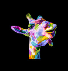 colorful giraffe head isolated on black vector image