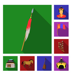 country mongolia flat icons in set collection for vector image