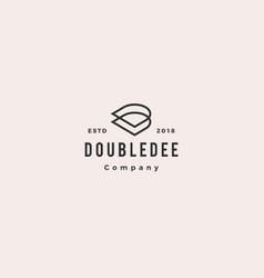 d dd letter logo hipster retro vintage icon vector image
