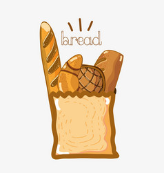 Delicios types of breads inside of bag vector