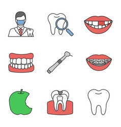 Dentistry color icons set vector
