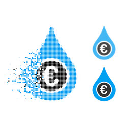 Disappearing dotted halftone euro liquid drop icon vector