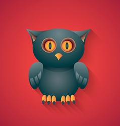 Eagle Owl Funny Halloween Carton with Long Shadow vector