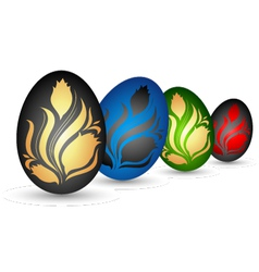 Easter eggs with flowers vector