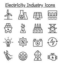 electricity industry icon in thin line style vector image