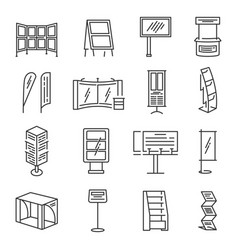 Exhibition stand icon set vector