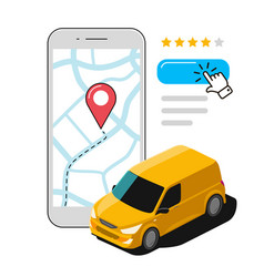 express delivery using mobile app transport vector image