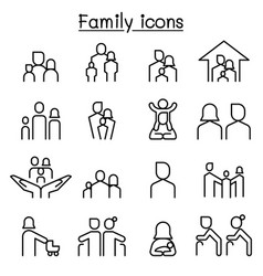 Family icon set in thin line style vector
