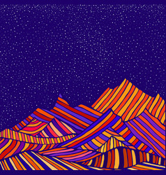 Fantastic hippie style psychedelic landscape vector