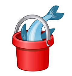Fish in a red bucket isolated on a white vector