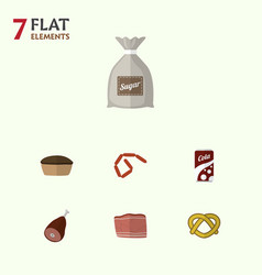 Flat icon meal set of bratwurst sack fizzy drink vector