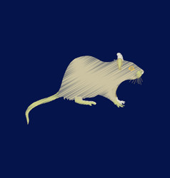 Flat shading style icon rat vector