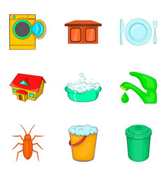 Flushing icons set cartoon style vector